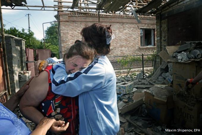 Houses such as that of yekaterina len 61 have been damaged or destroyed by ukraine shelling may 20 2014. photo maxim shipenov epa